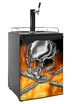 Kegerator Skin - Chrome Skull on Fire