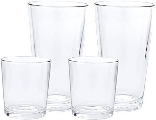 Circleware 40219 Simple Huge 16-Piece 8-15.7 oz 8-12.5 oz, Highball Drinking Glasses Cups, for Water, Beer, Juice, Ice Beverages 16pc