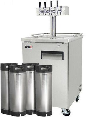 Four Tap Commercial Grade Home Brew Kegerator with Kegs - St
