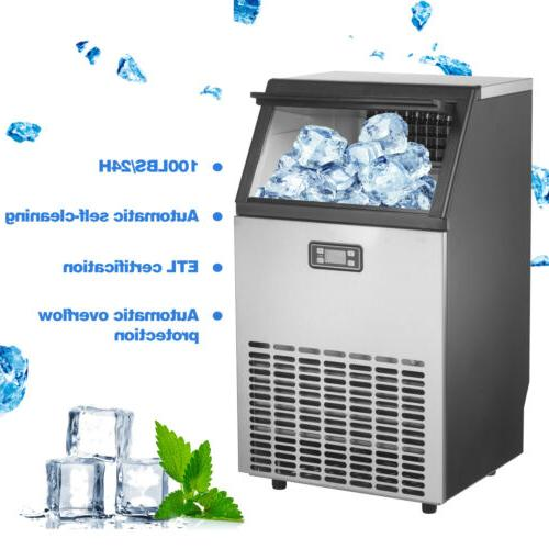 100LBS Commercial Ice Built-in Ice Cube Stainless