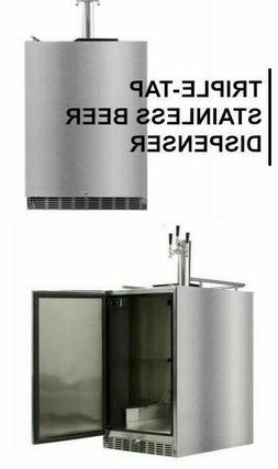 triple tap stainless steel kegerator by brand